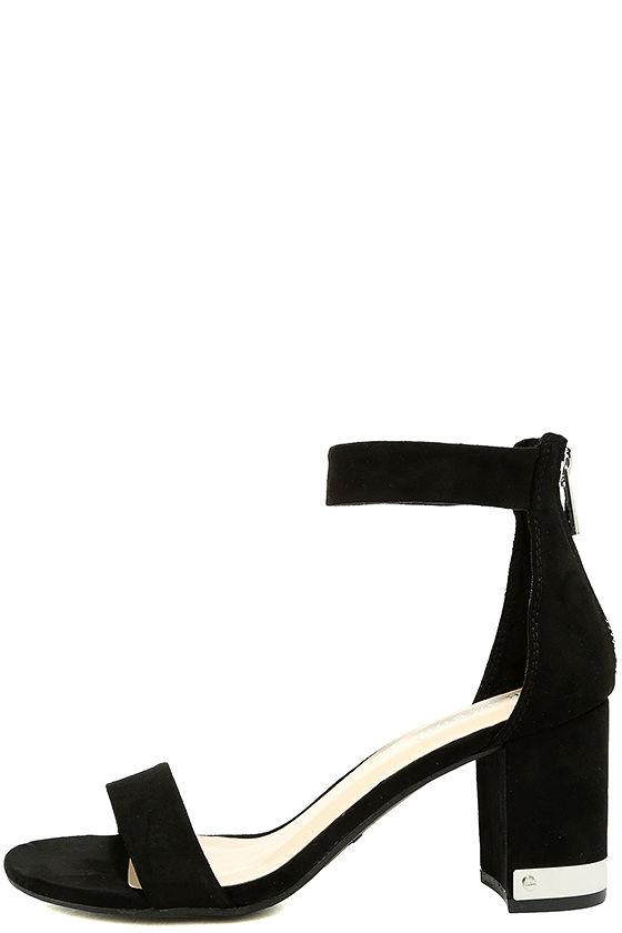 af346b40631 Chic Black Heels - Ankle Strap Heels - Block Heels - Vegan Suede Heels -  $36.00