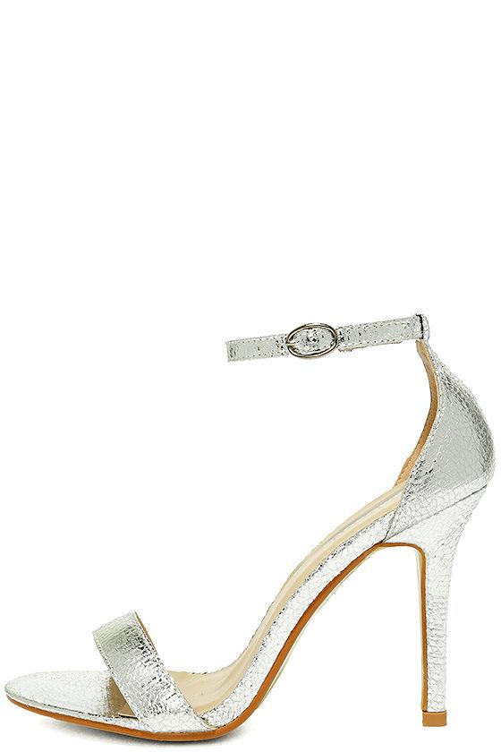 72fe2bc48685 Luxurious Silver Heels - Metallic Heels - Ankle Strap Heels -  54.00