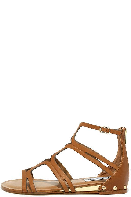 5ba977436f399a Steve Madden Delta Sandals - Tan Leather Sandals - Gladiator Sandals -   79.00