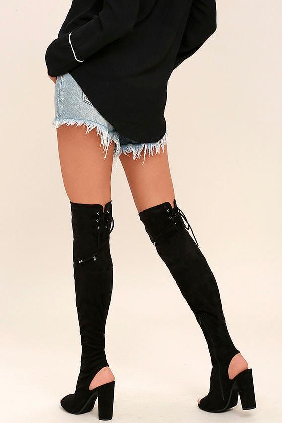 032725e92c Sexy Black Otk Boots Peeptoe Boots High Heel Boots Vegan Suede Boots ...