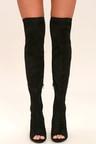 Sexy Black OTK Boots - Peep-Toe Boots - High Heel Boots - Vegan ... 8448adfba368