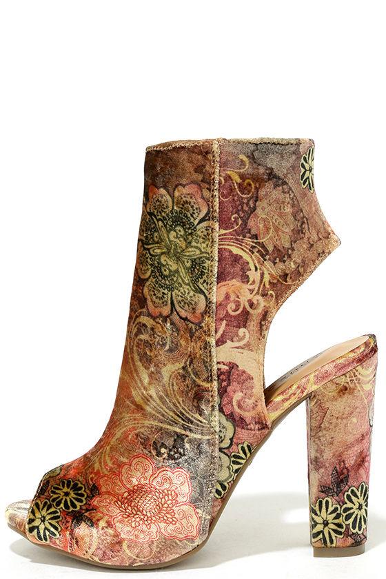 Zennia Mauve Multi Velvet Peep-Toe Ankle Booties 1