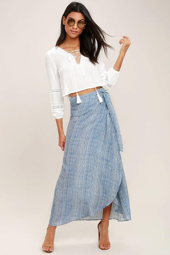 19c96e5430 Cute White and Blue Skirt - High-Low Skirt - Wrap Skirt - Midi Skirt ...