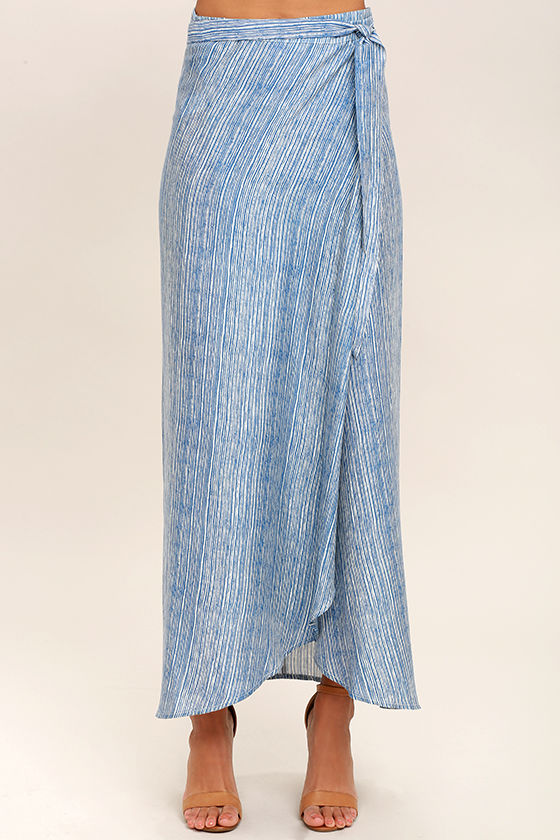 Anniversary White and Blue Striped High-Low Wrap Skirt 3