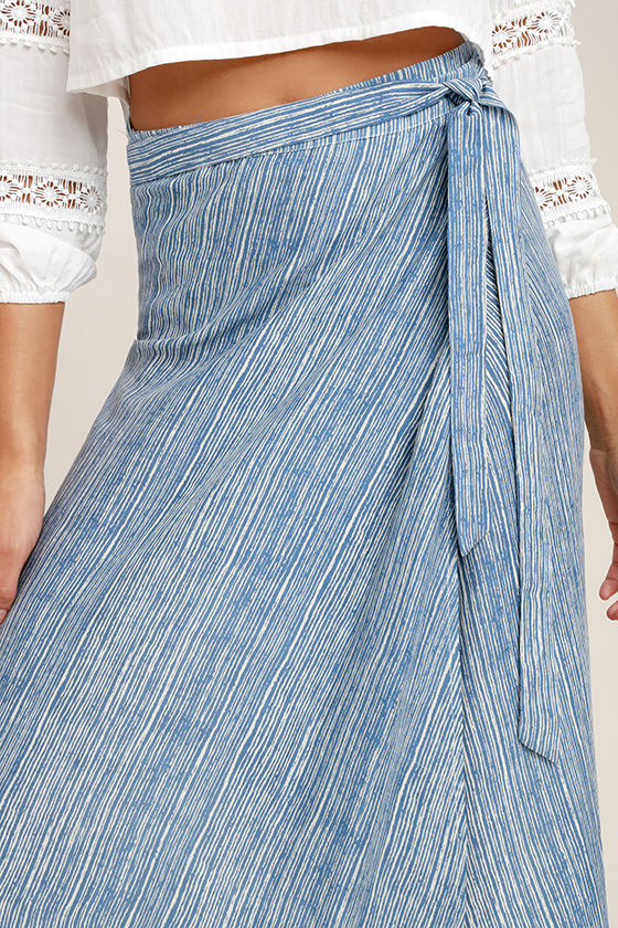 Anniversary White and Blue Striped High-Low Wrap Skirt 5