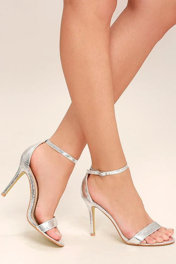 Luxurious Silver Heels - Metallic Heels - Ankle Strap Heels - $54.00