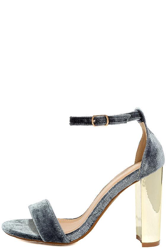 Vera Grey Velvet Ankle Strap Heels 1