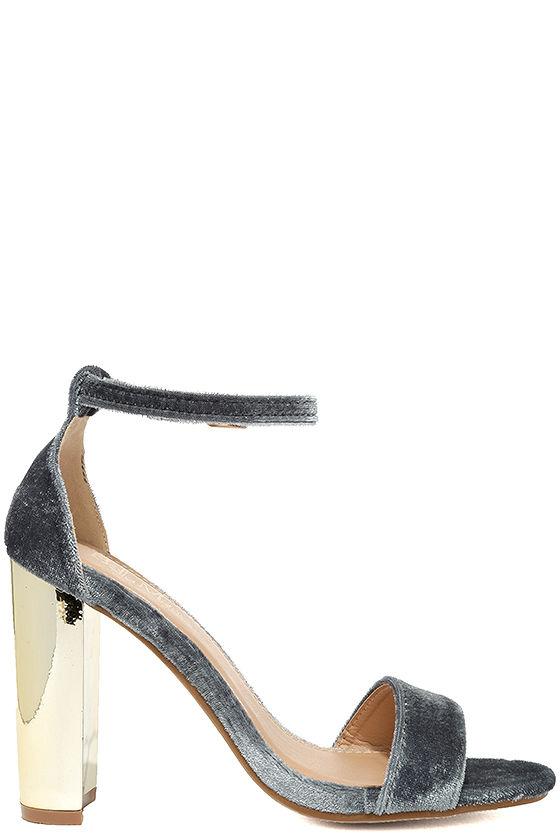 Vera Grey Velvet Ankle Strap Heels 4