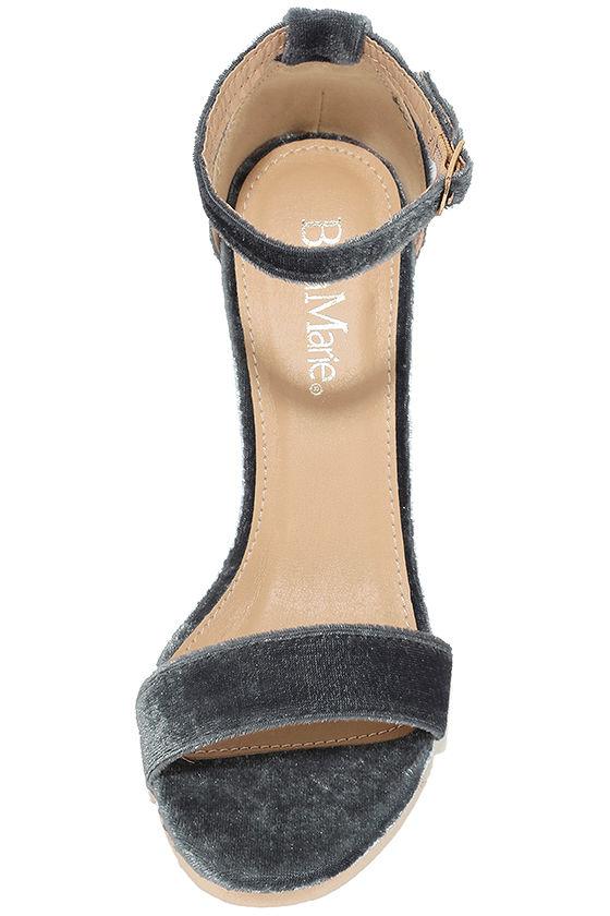 Vera Grey Velvet Ankle Strap Heels 5