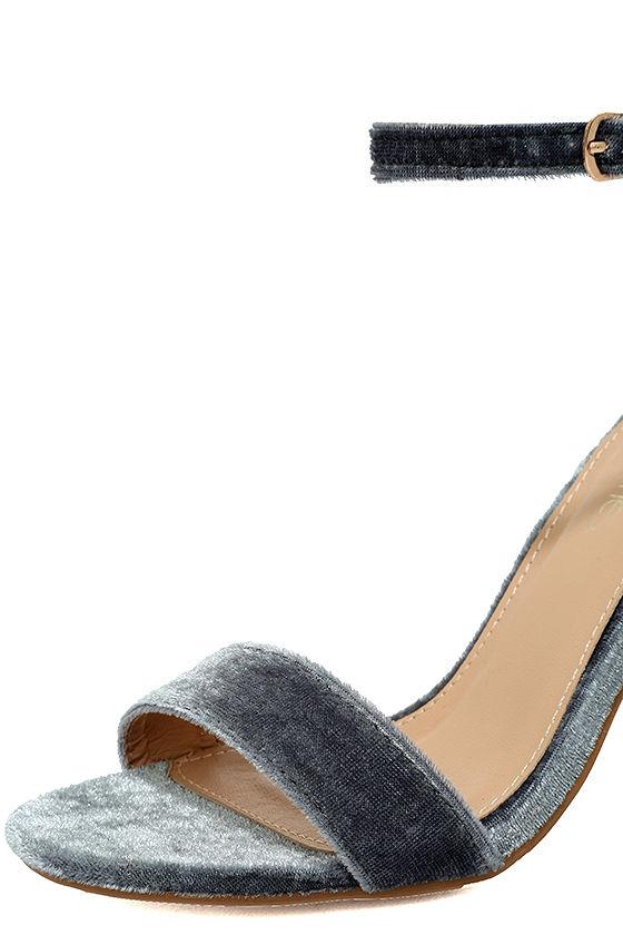 Vera Grey Velvet Ankle Strap Heels 6