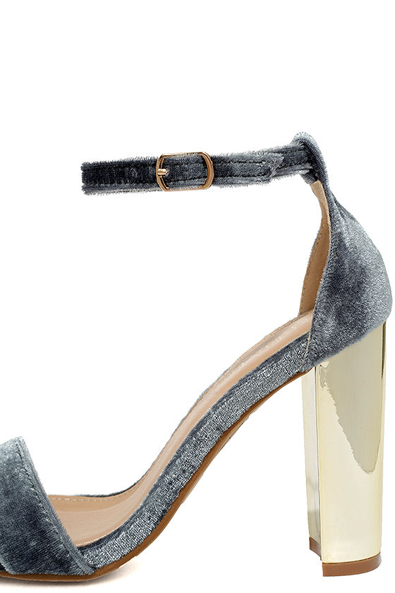Vera Grey Velvet Ankle Strap Heels 7