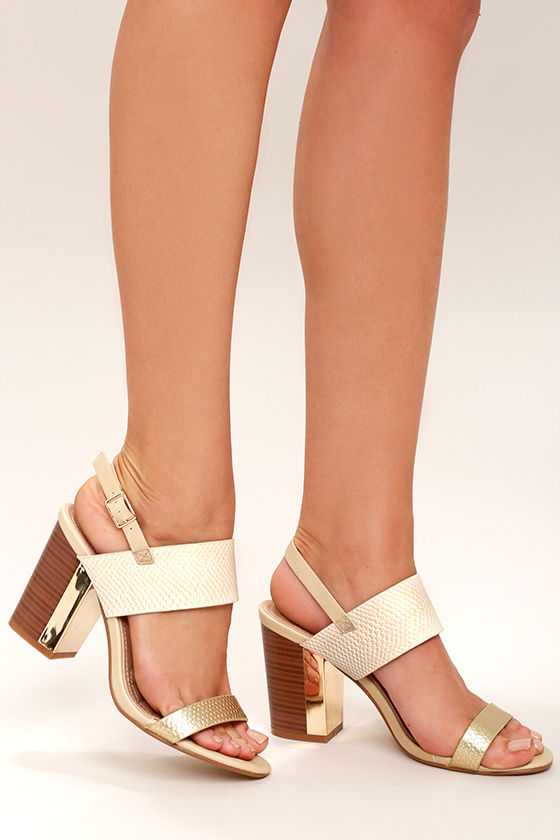 e6e97ac9028 Stylish Nude Heels - Snakeskin Heels - Gold Heels - Block Heels -  35.00