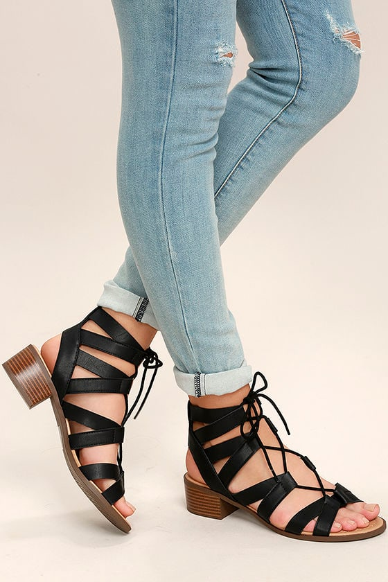 afa4aa68bbfc Cute Black Sandals - Lace-Up Sandals - Vegan Leather Sandals -  27.00