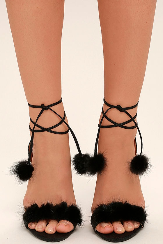cf88f3285e8 Luxe Black Fur Heels - Lace-Up Heels - Pompom Heels -  42.00
