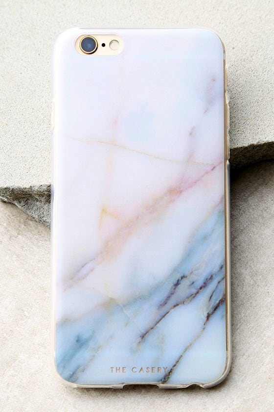 The Casery Neutral Marble White and Blue iPhone 6 and 6s Case 1