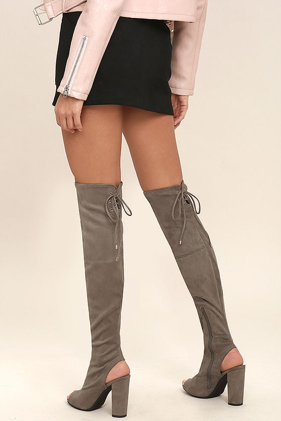 8ecbcb005b1d Sexy Taupe OTK Boots - Peep-Toe Boots - High Heel Boots - Vegan Suede Boots  -  46.00