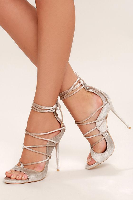 Sexy Nude Heels - Velvet Heels - Lace-Up Heels - $41.00