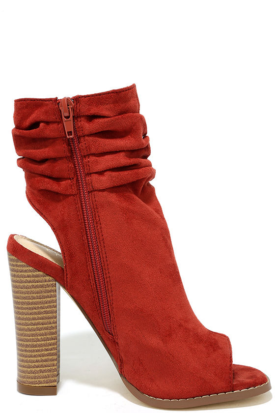 Only the Latest Cinnamon Suede Peep-Toe Booties 4