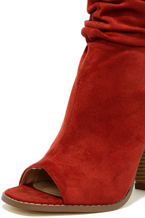 Only the Latest Cinnamon Suede Peep-Toe Booties 6