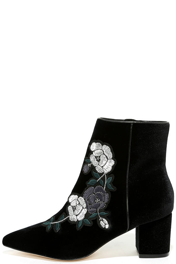 Steven by Steve Madden Brits Black Velvet Embroidered Booties 2