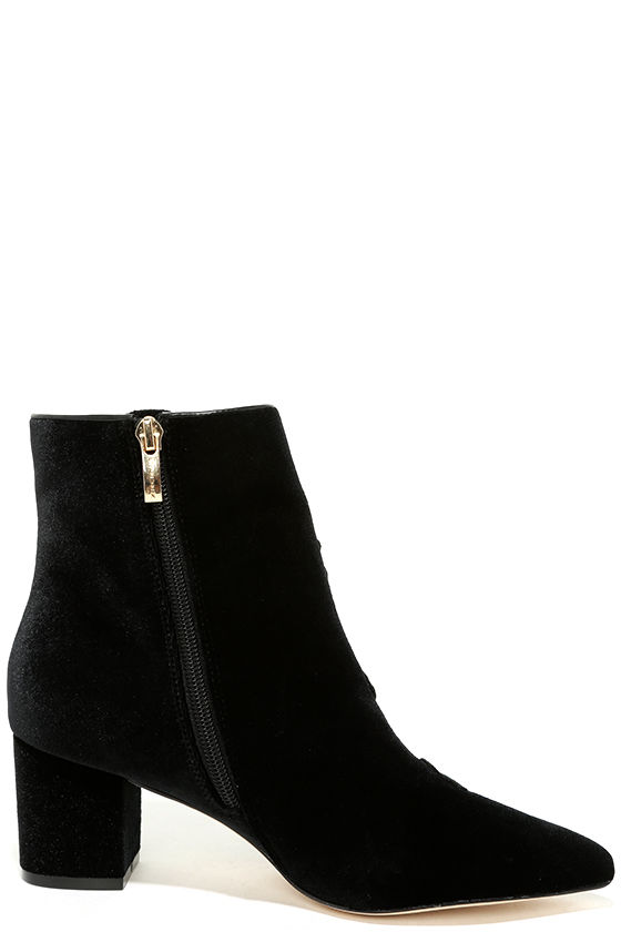 Steven by Steve Madden Brits Black Velvet Embroidered Booties 4