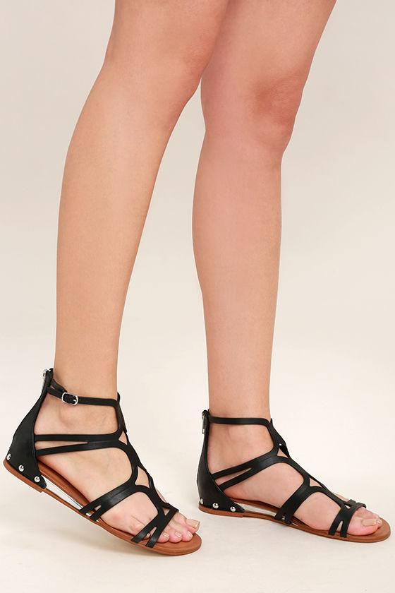 a8252ba9001e64 Steve Madden Delta Sandals - Black Leather Sandals - Gladiator ...