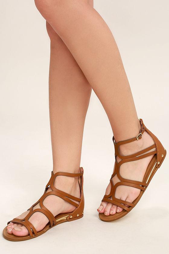 5802d796e9f7ca Steve Madden Delta Sandals - Tan Leather Sandals - Gladiator Sandals ...