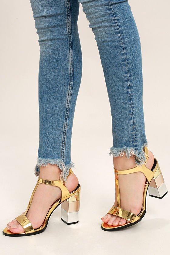 Stylish Gold Heels - High Heel Sandals - Metallic Block Heels - $40.00