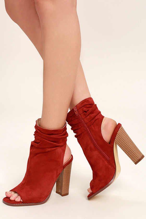 Only the Latest Cinnamon Suede Peep-Toe Booties 2
