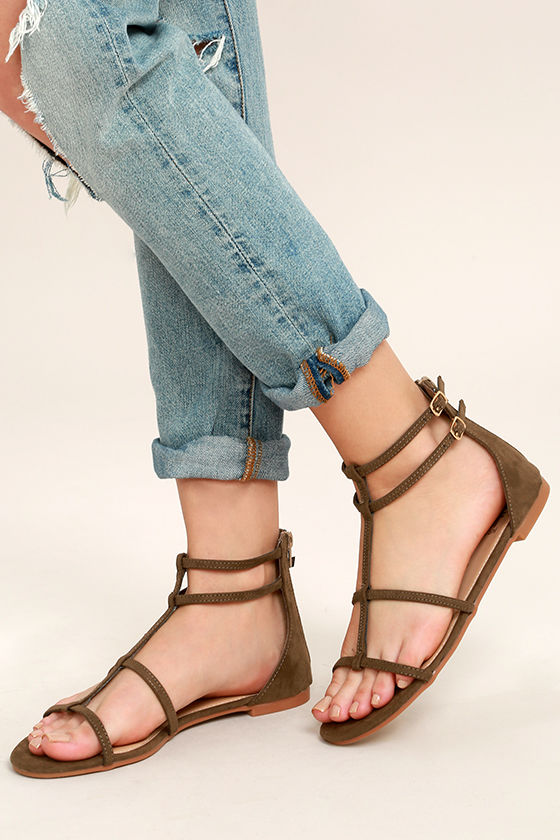in stock great look order Cool Olive Sandals - Gladiator Sandals - Flat Sandals - $22.00