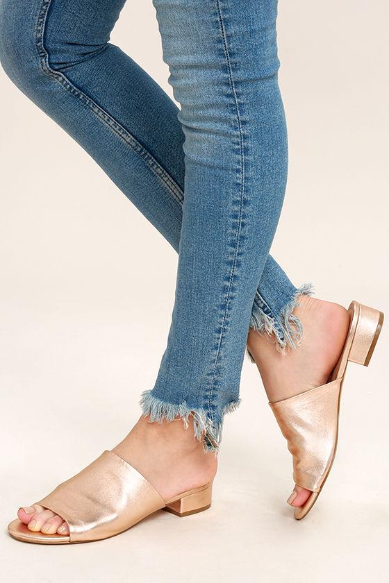 8b5557a2160 Steve Madden Briele Sandals - Rose Gold Sandals - Leather Slide Sandals -   69.00