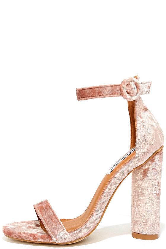 Lovely Blush Heels - Velvet Heels - Ankle Strap Heels - $39.00