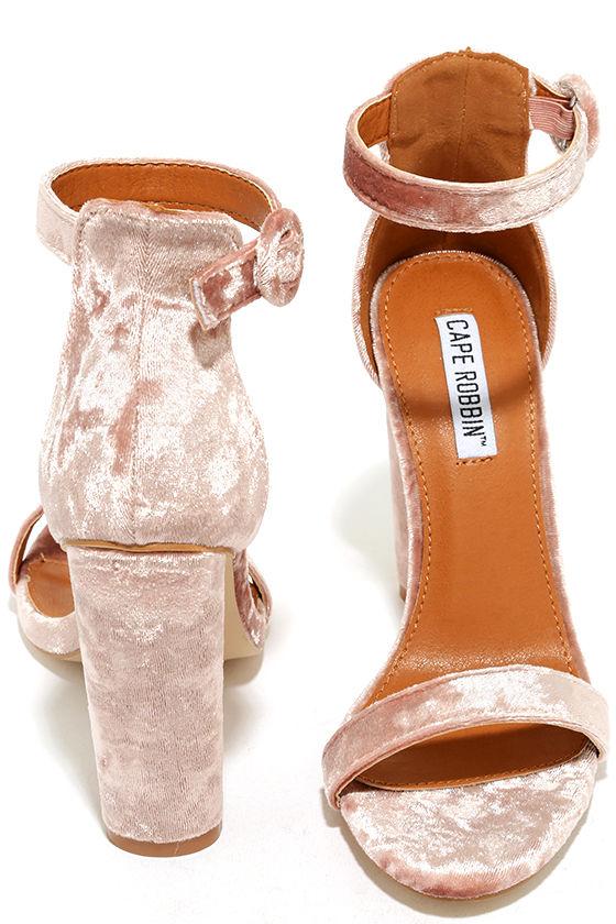 Talullah Blush Velvet Ankle Strap Heels 3