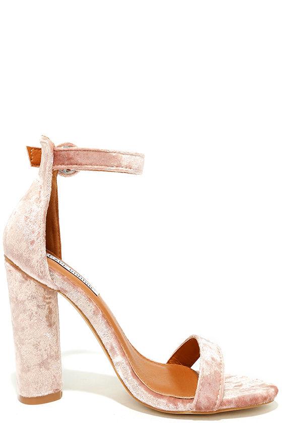 Talullah Blush Velvet Ankle Strap Heels 4