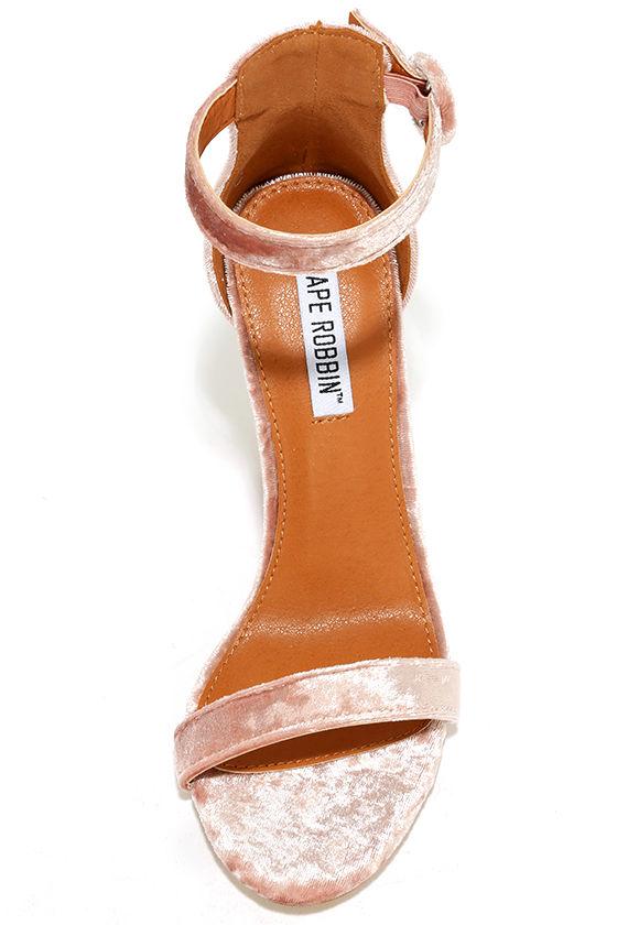 Talullah Blush Velvet Ankle Strap Heels 5