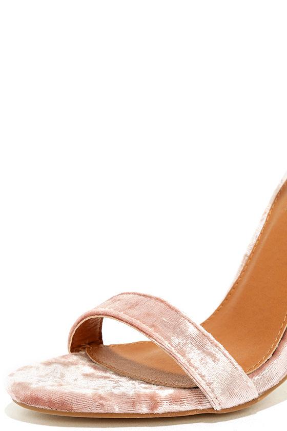Talullah Blush Velvet Ankle Strap Heels 6