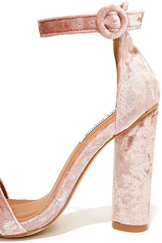 Talullah Blush Velvet Ankle Strap Heels 7