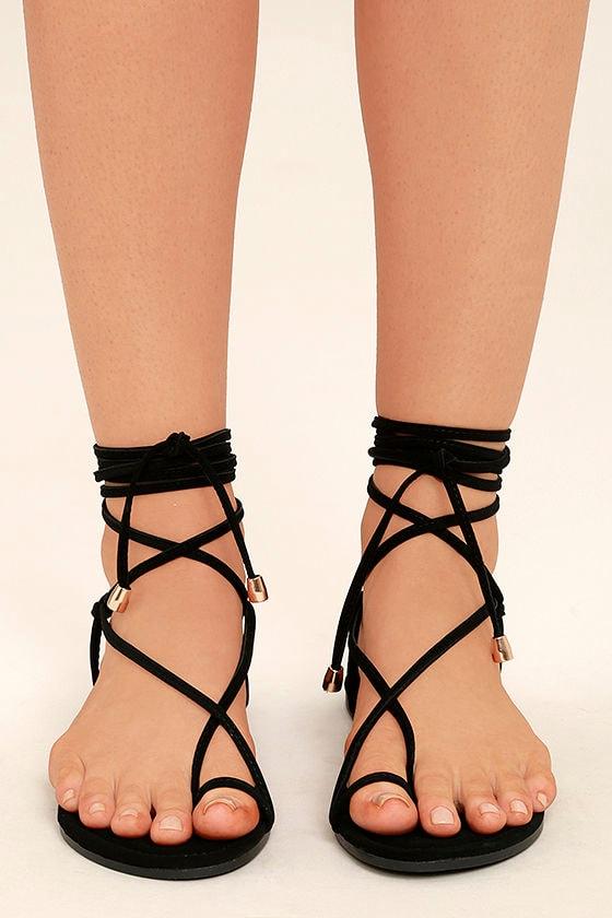 Micah Black Lace-Up Flat Sandals 2