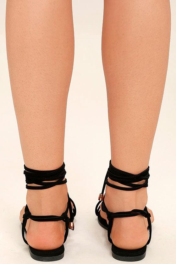 Micah Black Lace-Up Flat Sandals 4
