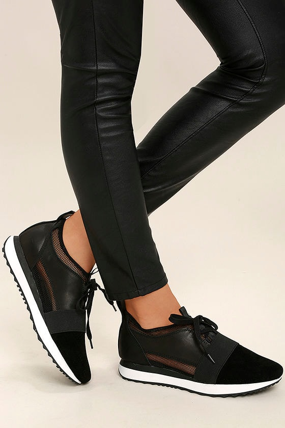 2fb537477fb07 Steve Madden Altitude Sneakers - Black Leather Sneakers - Black Mesh  Sneakers - $89.00