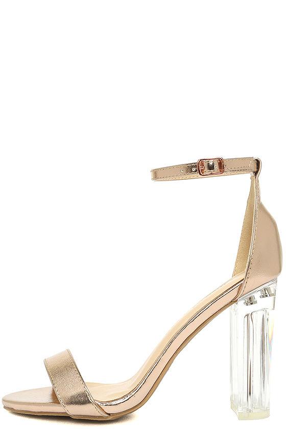 47fd6e459ef2 Chic Rose Gold Heels - Lucite Heels - Block Heels - Vegan Leather ...