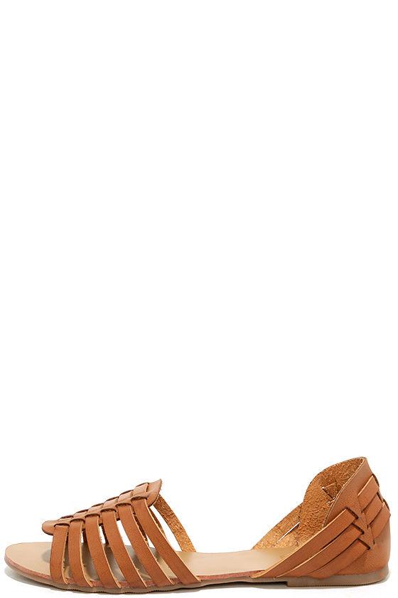Ilana Tan Leather Huarache Flats 1
