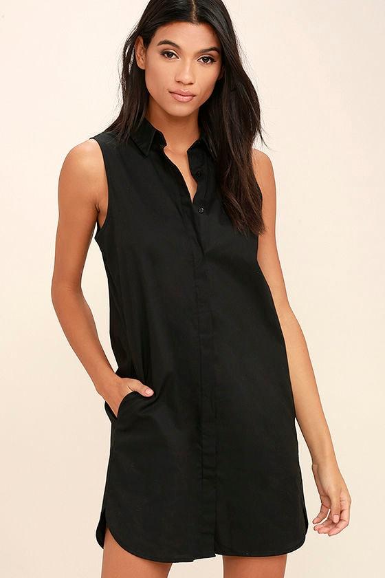 0edf3b90 Chic Black Dress - Shirt Dress - Button-Up Dress - Black Collared Dress -  $43.00