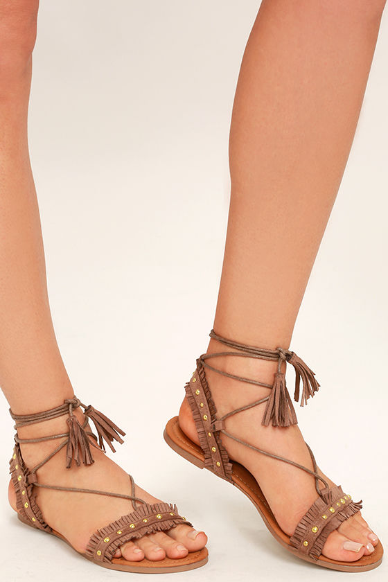 Dharma Taupe Suede Studded Lace-Up Sandals 1