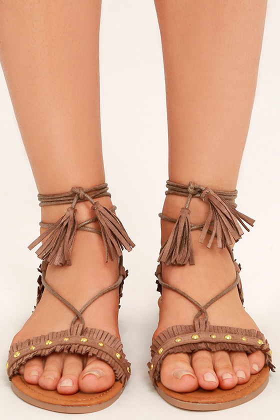 Dharma Taupe Suede Studded Lace-Up Sandals 2