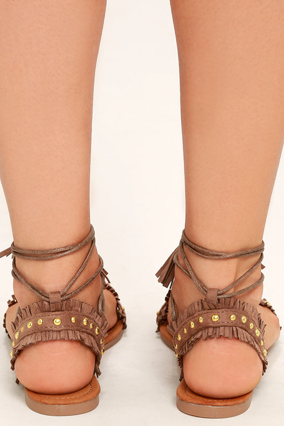 Dharma Taupe Suede Studded Lace-Up Sandals 4