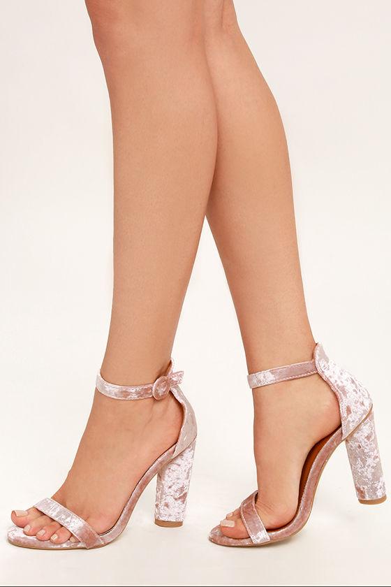 Talullah Blush Velvet Ankle Strap Heels 2