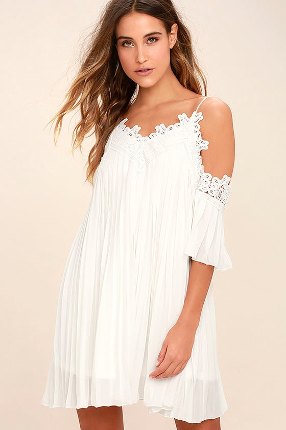 Lovely White Dress - Off-The-Shoulder Dress - Lace Dress - $68.00