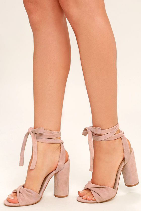 01f7cb5613a Steve Madden Clary Heels - Pink Suede Leather Heels - Lace-Up Heels ...