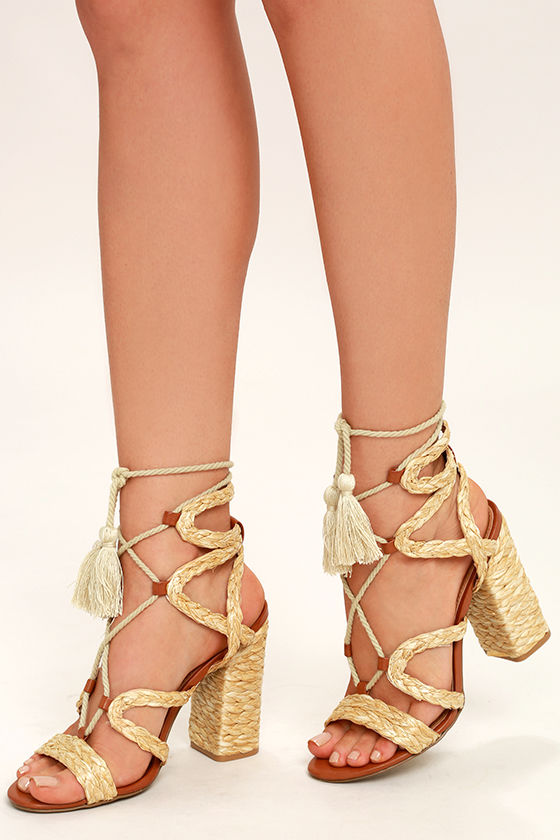 Mia Gigi Natural Raffia Lace-Up Espadrille Heels 1
